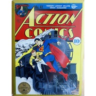DC Action Comics Superman Tin Metal Sign Classic Embossed 10 cent Collectible Z2