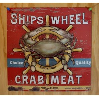 Ships Wheel Crab Meat Tin Sign Kitchen Decor Sea Food Advertisement AD B26