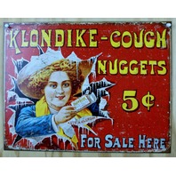 Klondike Cough Nuggets Ad Tin Sign Classic Vintage Style Medicine Ad Red D20