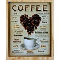 Coffee Beans Tin Metal Sign Java Kona Bani Mocha Bugisu Arusha Chiapas Bistro