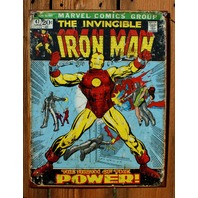 The Invincible Iron Man Tin Sign Marvel Comics Group Comic Book Tony Stark C56
