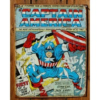 Captain America Tin Sign Marvel Comic Book The Avengers Jack Kirby Stan Lee C40