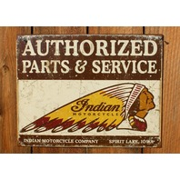 Indian Motorcycle Company Parts & Service Tin Sign Iowa Chief Head Dress