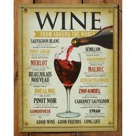 Wine From Around The World Tin Sign Good Wine Friends Good Life Merlot Syrah G114