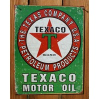 Texaco Motor Oil Tin Sign The Texas Company Gas & Oil Standard Chevron E10