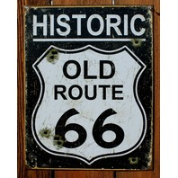 Historic Old Route 66 Tin Sign Garage Hot Rod Road Highway Sign Car Show RT E127
