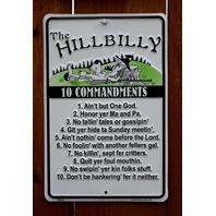 The Hillbilly 10 Commandments Tin Sign Christian Christ Bible God Religious G9