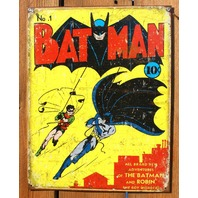 Batman No. 1 Tin Sign Robin Detective Comics DC Comic Book Vintage Style
