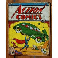 Action Comics Superman No. 1 Tin Sign Detective Comics DC Comic Book Hero