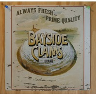 Bayside Clams Brand Tin Metal Sign Ocean Decor Seafood Light House Vntg AD E101