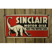 Sinclair Motor Oils Tin Metal Sign Garage Man Cave Gas Gasoline Oil Dinosaur E44