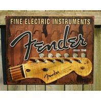 Fender Headstock Tin metal Sign Studio Strat Stratocaster Guitar Bass Music F31