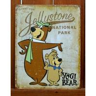 Jellystone National Park Yogi Bear Boo Boo Tin Sign Cartoon Hanna Barbera B21