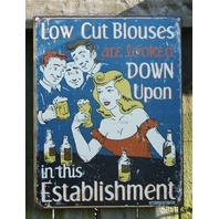 Low Cut Blouses Humor Tin Metal Sign Bar Garage Man Cave Beer Bar Comedy