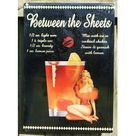 Between The Sheets Mix Drink Tin Sign Bar Garage Pin Up Girl Man Cave Alcohol 16