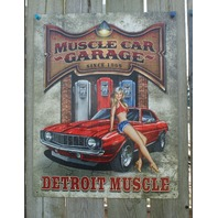 Muscle Car Garage Tin Sign Man Cave Garage Camaro Gas Pump Pin Up Girl Rod 21a