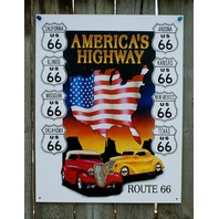 Route 66 America's Highway Tin Sign Hot Rod ManCave Garage Texas Arizona Cal 23