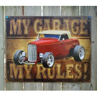 My Garage My Rules Tin Sign Man Cave Garage Hot Rod Ford Chevy Dodge Pontiac 23