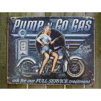 Pump n Go Motorcycle Tin Sign Man Cave Garage Pin Up Girl Oil Gas Gasoline 23