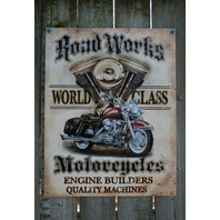 Road Works World Class Motorcycle Engine Builders Tin Sign Man Cave Garage 23