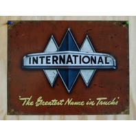 International Trucks Tin Sign Scout Semi Truck Tractor Garage Farm Business E132
