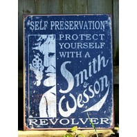 Smith & Wesson Tin Metal Sign Man Cave Gun Revolver Pistol Security s8