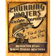 Churning Water Guide Service Tin Sign Monster Fish Fishing Bass Pro Tackle  B11