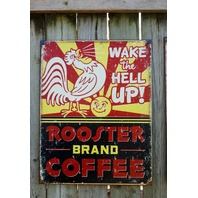 Rooster Brand Coffee Tin Sign Garage Country Kitchen Home Decor Humor