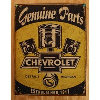 Chevrolet Genuine Parts Tin Sign Chevy Camaro Piston Corvette 350 454 V8 G33