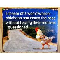Chickens Motives Tin Sign College Humor Comedy Farm Country Decor Joke E122