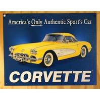 58 Chevy Corvette Americas Sports Car Tin Sign Chevrolet  350 454 V8 Garage