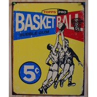 Topps Basketball Cards Tin Metal Sign 1957 50s Wax Pack retro weathered Gum 31