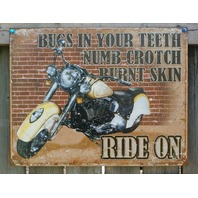 Ride On Indian Motorcycle Tin Sign Man Cave Garage Bike Saddle Bags Road Hog 23