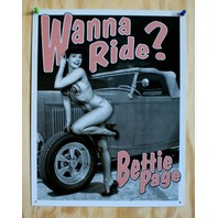 Bettie Page Wanna Ride Pin Up Girl Hot Rod Bikini Man Cave Garage Tin Sign