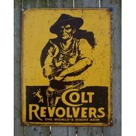 Colt Revolver Tin Sign Man Cave Garage Alarm System Hand Gun Pistol Western E28