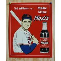 Ted Williams Moxie Ad Tin Sign Boston Red Sox Baseball Soda Pop MLB Cola E119