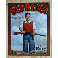 Daisy Red Ryder Rifle Tin Sign Gun American Wild West Christmas Story Pellet  23