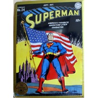 DC Action Comics Superman no 24 golden Tin Sign Classic Embossed Collectible Z1