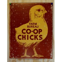 Farm Bureau Co-Op Chickens Tin Sign Country Kitchen Home Decor Barn Garage