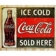 Ice Cold Coca Cola Sold Here Tin Sign Soda Coke Pop Classic Advertisement G52