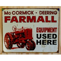 McCormick Deering Farmall Tin Sign Farm Tractor International Harvester IH