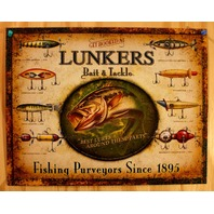 Lunkers Bait & Tackle Tin Sign Outdoors Fly Fishing Lure Rod Reel Bass Pro D114