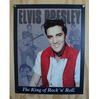 Elvis Presely King of Rock n Roll Tin Sign 50's Sun Records Graceland Music 8A