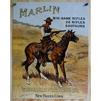 Marlin Rifles Tin Sign Horse Cowboy Western Rodeo Country Home Gun Hunting