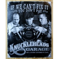 3 Stooges Knucklehead Motorcycles Tin Sign Stooge Approve Biker Humor Comedy G71