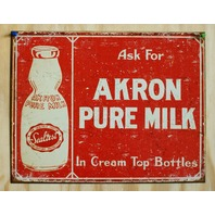 Akron Pure Milk Cream Top Bottles Tin Sign Country Kitchen Home Farm Ad G72