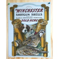 Winchester Shotgun Tin Sign Quail Dog Trap Shoot Ammo Shells Gun Hunting E34
