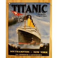 Titanic White Star Line Advertisement Tin Sign Movie Theater Film Poster G109