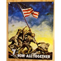 War Bonds All Together Tin Sign 7th War Loan WWII Marine American Flag POW F37