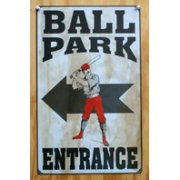 Ball Park Entrance Tin Sign MLB Baseball Stadium Ballpark Little League Z74